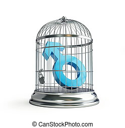 cage for birds man isolated on a white background