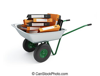 wheelbarrow folders - office folders wheelbarrow isolated on...