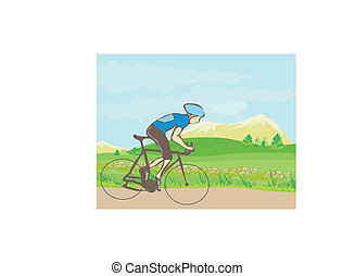 man riding a bike in the mountains