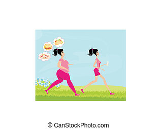 Young woman jogging,fat girl dreams of unhealthy eating,...