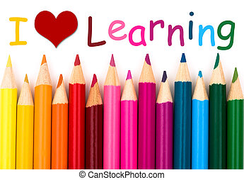 I Love Learning , A pencil crayon border isolated on white...