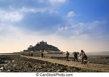 Landscape of Path revealed at low tide to St Michael's Mount...