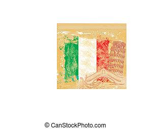 grunge background symbols of italy - gondola and Pisa tower