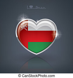 Oman - Glossy heart shape flags of the Worlds: Sultanate of...