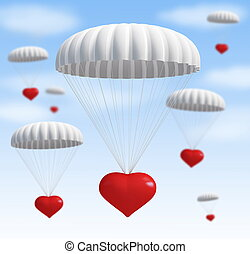 heart at parachute on a sky with clouds