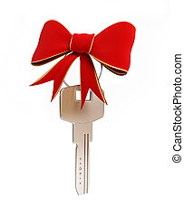 Gift key on a white background