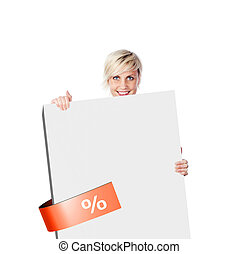 Smiling Woman Holding Board For Discounts - Portrait of a...