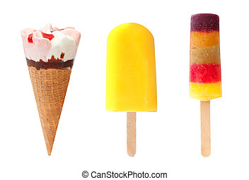Icecream and popsicles - Icecream cone, yellow lollypop and...