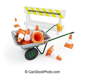 wheelbarrow under construction on a white background