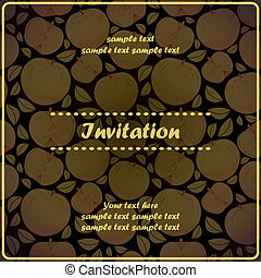 Invitation card with apple - vector illustration