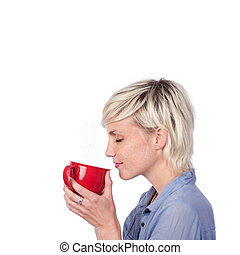 Blond Woman With Red Coffee Mug - side view at thoughtful...