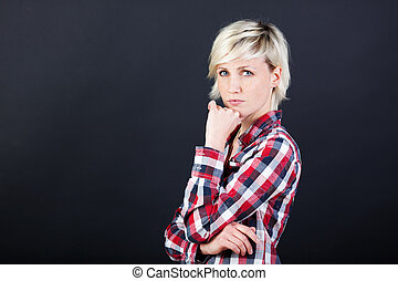 Beautiful And Serious Young Blond Woman - Portrait of a...