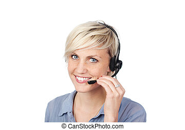 Young Woman With Headset - Closeup portrait of a pretty...