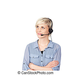 Young Blond Woman With Headset - Closeup portrait of a...
