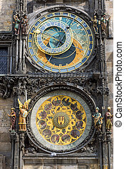 The astronomical clock In Prague - Detail of the famous...