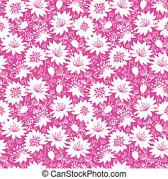 Pink and white floral silhouettes seamless pattern...
