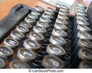 Type writer keyboard - a horizontal angle on the keyboard of...