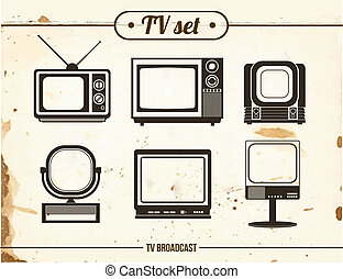 set of vintage TV