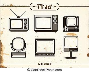 set of vintage TV