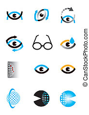 Optics_eye_icons_symbols - Set of optics, Optometry eye...