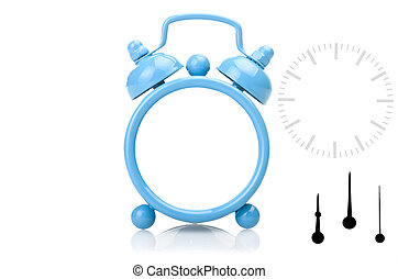 Old fashioned alarm clock with clipping paths over white...