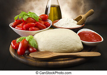 tomato basil flour olive oil for homemade pizza 1