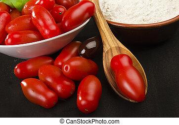 tomato basil flour olive oil for homemade pizza 1