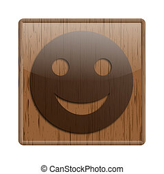 Wood shiny icon - Shiny icon with brown design on wooden...