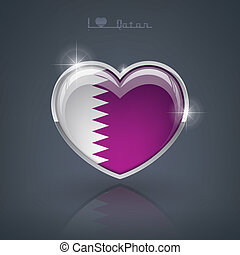 Qatar - Glossy heart shape flags of the Worlds: State of...