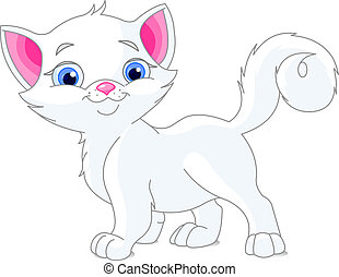 White kitten - Illustration of cute white kitten