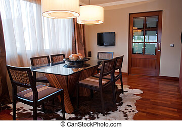 dinning room - A modern dinning room with modern televison...