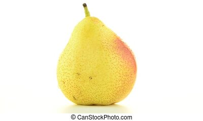 Pear rotating on white background.
