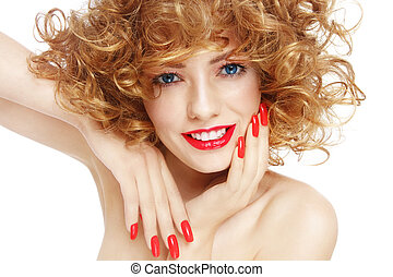Happy beauty - Young beautiful sexy smiling woman with curly...