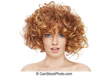 Curly hairstyle - Young beautiful happy sexy woman with...