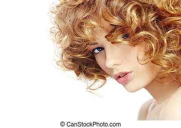 Curly hairstyle - Portrait of young beautiful woman with...