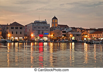 Vodice waterfront golden evening view, Dalmatia, Croatia