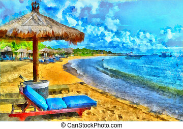 Beautiful beach - Digital watercolor colorful natural...