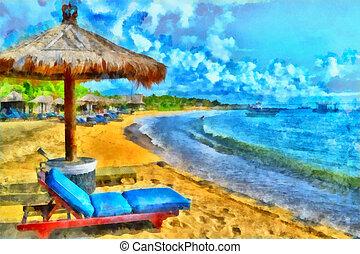 Beautiful beach - Digital watercolor colorful natural...