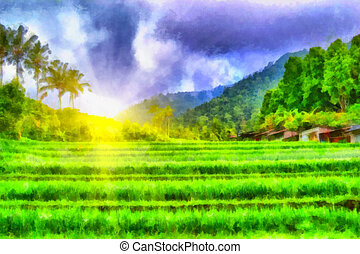 Sunny field - Digital watercolor colorful natural background