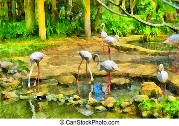 Flock of flamingos - Digital watercolor colorful natural...