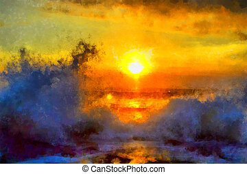 Sea ??sunset - Digital watercolor colorful natural...