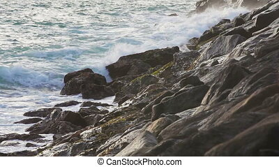Waves near the rocky coast - Video 1920x1080p - Waves near...