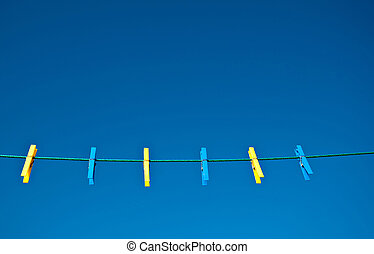 Yellow and Blue Clothes Pegs - Yellow and blue clothes pegs...