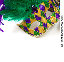 Mardi gras mask on a white background - A glittery Mardi...