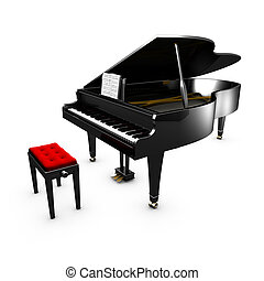 3D opened grand piano and its chair White background