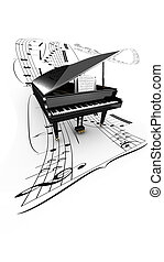 3D opened grand piano on a long flying partition. White...