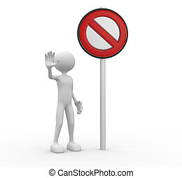 Stop sign - 3d people - man, people with a stop sign