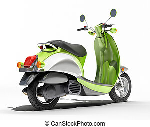 Scooter close up - Green scooter close up on a light...