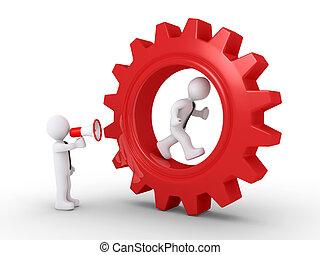 Boss shouting to employee inside of a cogwheel
