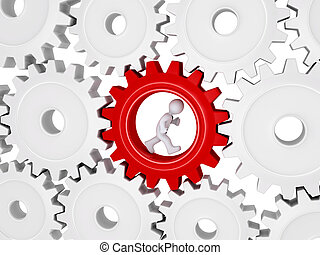 Worker running inside of one cogwheel out of many